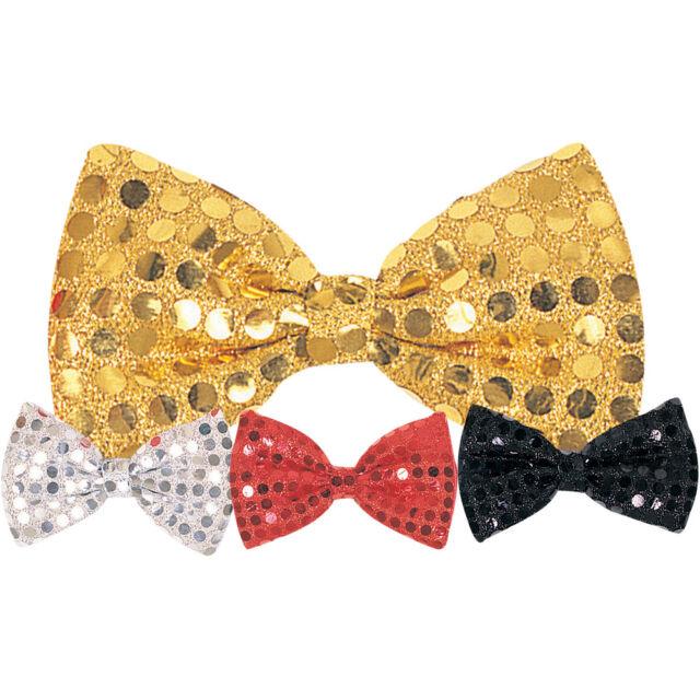 GOLD SEQUIN BOW TIE NOVELTY TIE FANCY DRESS CLOWN
