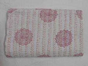 Vintage-Indian-Handmade-Quilt-Kantha-Bedspread-Throw-Cotton-Blanket-Gudari-Twin