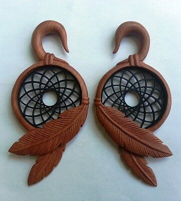 Pair Tribal Dream Catcher Resin Saba Wood Ear Spiral Hanger Expander Plug Gauges