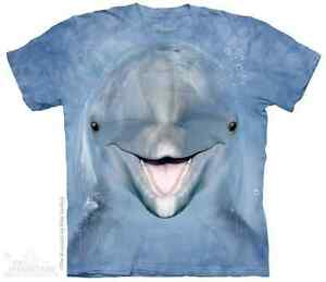 WOMEN-039-S-T-SHIRT-DOLPHIN-FACE-STONEWASHED-MULTICOLORED-GRAPHIC-TEE-SIZE-2XL