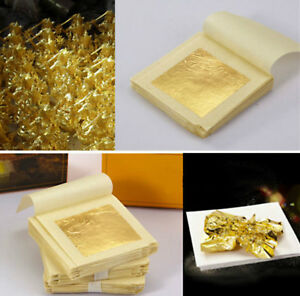 10-Sheet-Edible-Pure-Gold-Leaf-Foil-24K-For-Art-Food-Facial-Spa-Gilding-Crafting