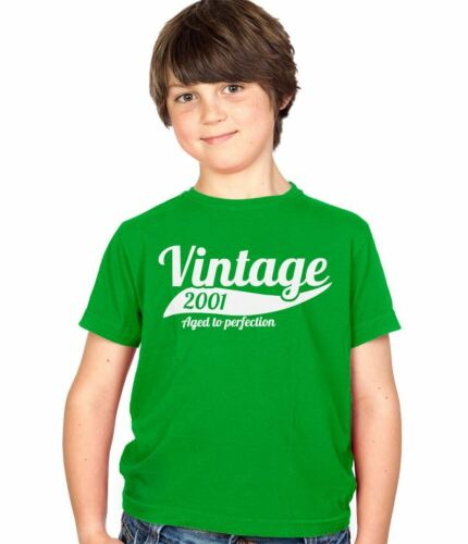 Vintage 2001 15th Birthday Childs Present Party Gift Kids Boys /& Girls T-Shirt