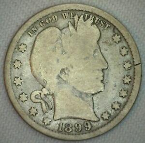 1899-Silver-Barber-Quarter-Twenty-Five-Cent-US-Type-Coin-Good-Condition-25c-m6