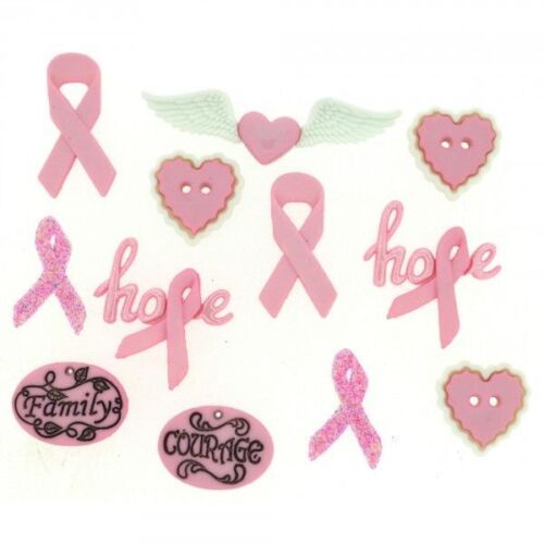 cancer awareness ribbons scrapbook Courage /& Hope Dress It Up Buttons craft