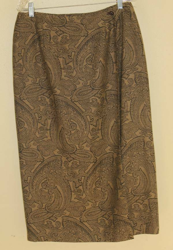 New TALBOTS Elegant Paisley Olive Brown Charcoal Classic Wrap Skirt Sz 14P
