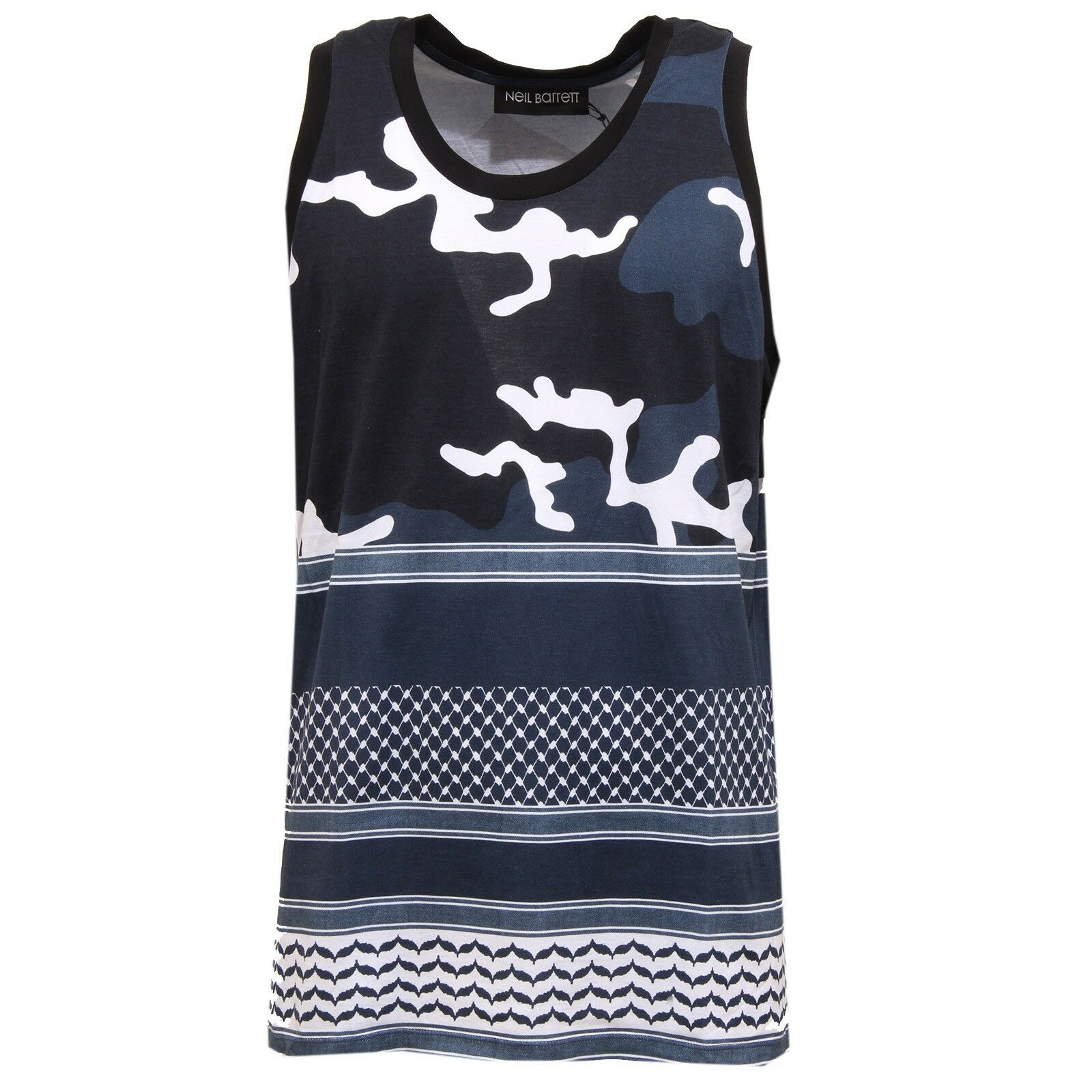 5838T canottiera uomo NEIL BARRETT camouflage blu t-shirt sleeveless men