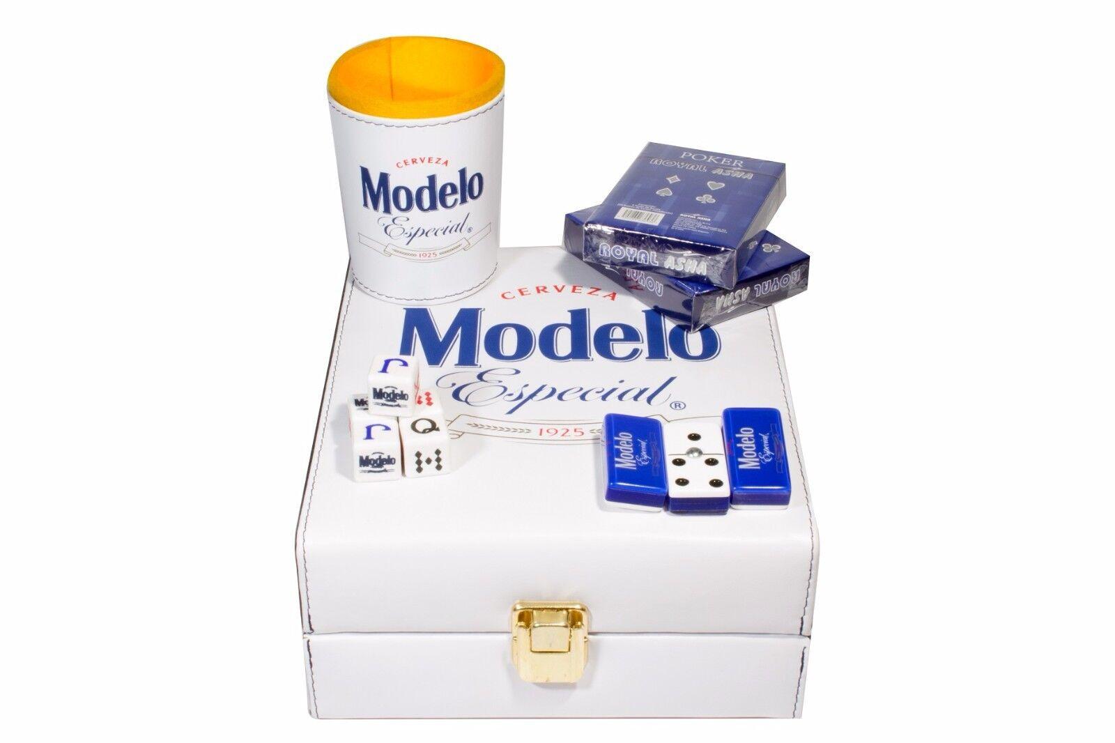 Modelo Beer Deluxe Set 3 Games  Domino, Dice Cup, 2 Poker Cards
