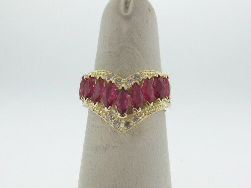 Natural Marquise Red Rubies Genuine Diamonds  V  Solid 14K Yellow gold Ring
