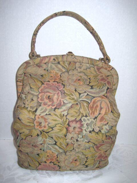 Tapestry Purse Floral Large Carpet Bag Handbag Micro Petit Point Mirror Vintage