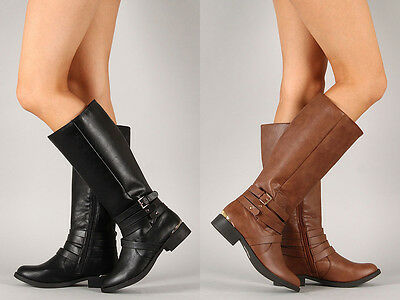 Womens Knee High Boots Strappy Buckle Riding Equestrian Zipper PU-Leather Shoes