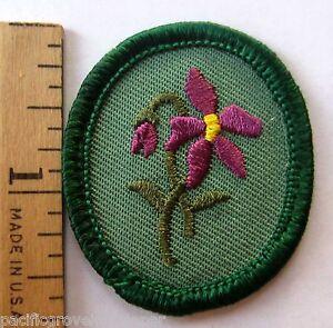 Retired Oval Girl Scout PURPLE VIOLET TROOP CREST Flower Patch Badge Troop ID