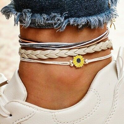 3pcs Sunflower Daisy Charm Anklets Set Beach Barefoot Charm Anklet Women Jewelry