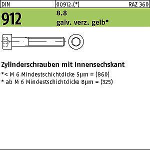 200 Inbus Zylinderkopfschrauben DIN 912 8.8 M6x35 gelb verzinkt