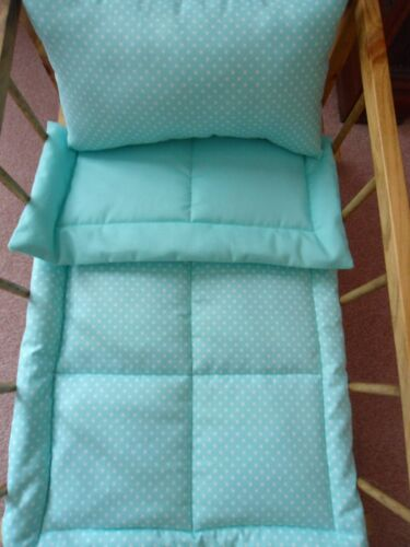 Mint Green with White Dots Doll Bedding Set 2 Piece Blanket /& Pillow Handmade