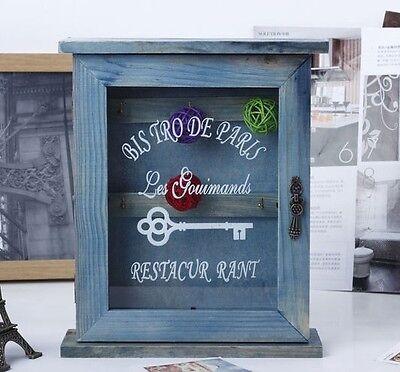 Retro Vintage Blue Wood Key Box Home Decor Wall Mount Storage Key Hanging Holder