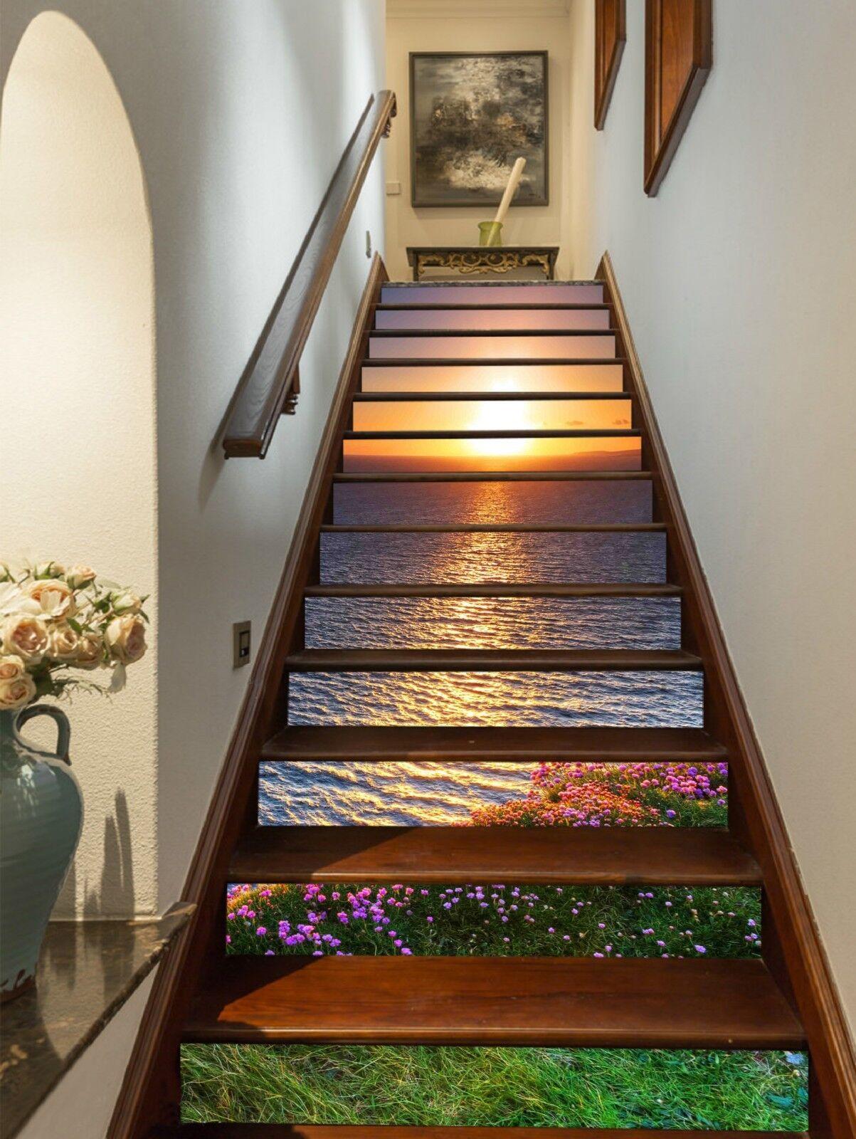 3D Sunset River 2 Stair Risers Decoration Photo Mural Vinyl Decal Wallpaper CA