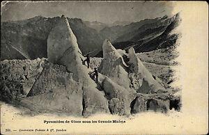 Pyramides-de-Glace-sous-les-Grands-Mulets-Eispyramiden-1915-Feldpost-gelaufen