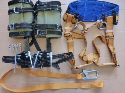 Safety Belt With Straps Safety Lanyard With Carabiner Tree Climbing Spike Set