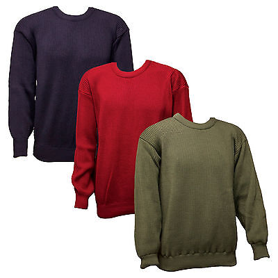 Mens Ribbed Knit Lined Knitted Jumper Shooting Clothing Fishing Merino Mix Wool