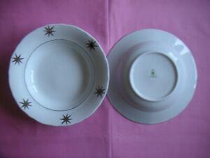 9x-da-1-tiefer-Teller-Suppenteller-Plaetzchenteller-Porzellan-mit-Silbersternen