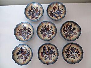 8 Coupes Coupelles En Ceramique De Quimper Par Paul Fouillen