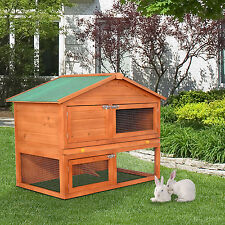 PawHut 48.4'' Wooden Rabbit High Duality Portable Hutch House Chicken Coop