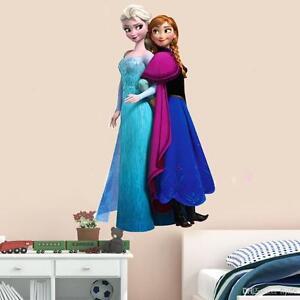 Pegatinas de pared de Elsa Anna de Frozen para decoraci/ón de habitaci/ón de ni/ña 78 x 65 cm