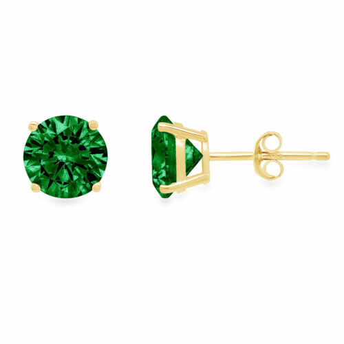 Details about  /1CT Round Cut Designer Simulated Emerald 18k Yellow Gold Earrings Push Back
