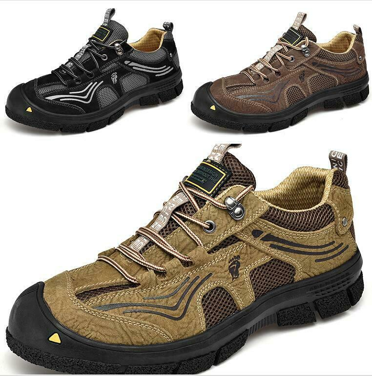 Mens Hiking reathable Non-slip Lace up Soft Splice Beach shoes Breathable Flats