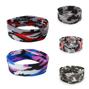 Women-Men-Sport-Sweatband-Camo-Casual-Headband-Yoga-Gym-Stretch-Hair-Accessories