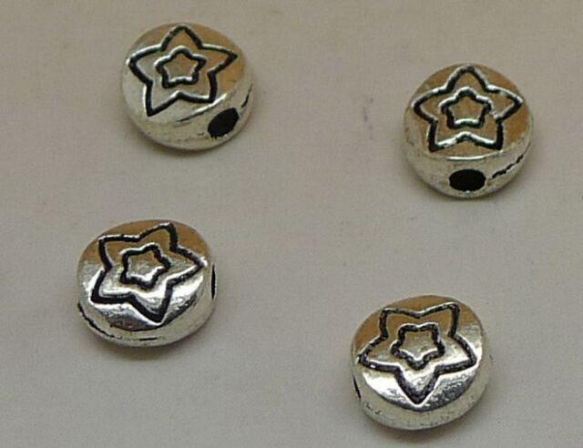 50 pcs Tibetan silver flowers charms spacer bead  6x6 mm