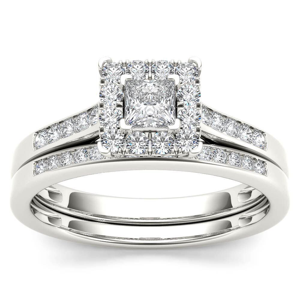 10k White gold 0.50 Ct Princess Diamond Halo Engagement Ring Set