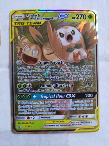 Rowlet /& Alolan Exeggutor GX ULTRA RARE Tag Team 1//236 Pokemon Holo Foil NM