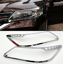 ABS Chrome Front Head Light Lamp Cover Trim 2Pcs For Honda Accord 9th 2013-2015
