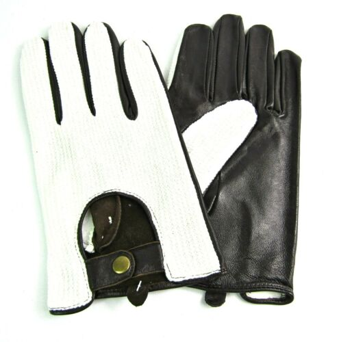 Mens High Quality New Brown And White Soft Genuine Leather Driving Gloves