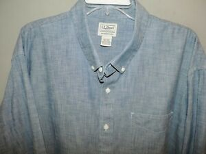 L-L-Bean-Big-amp-Tall-Blue-Denim-Style-100-Cotton-Mens-Shirt-SZ-2XLT-Fast-Ship