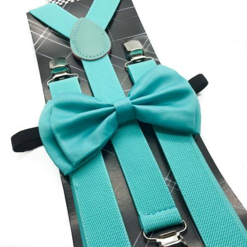 USA Seller Mint Blue Suspender and Bow Tie Set for Adults Men Women Teenagers