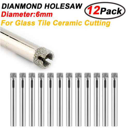 12pc  Diamond Cutter Hole Saw Drill Bit Tool 6mm Set For Tile Ceramic Glass Tool