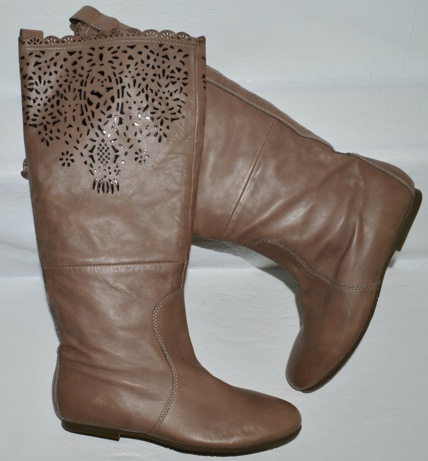 BELLE SZ 6.5 M 235 BROWN LASER CUT-OUTS RIDING BOOTS BOOTIES FLATS EXCELLENT