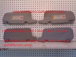 GEO CHEVY METRO SUZUKI SWIFT 1995 - 2001 2 DOOR 4 DOOR PASSENGER  SUN VISOR GRAY