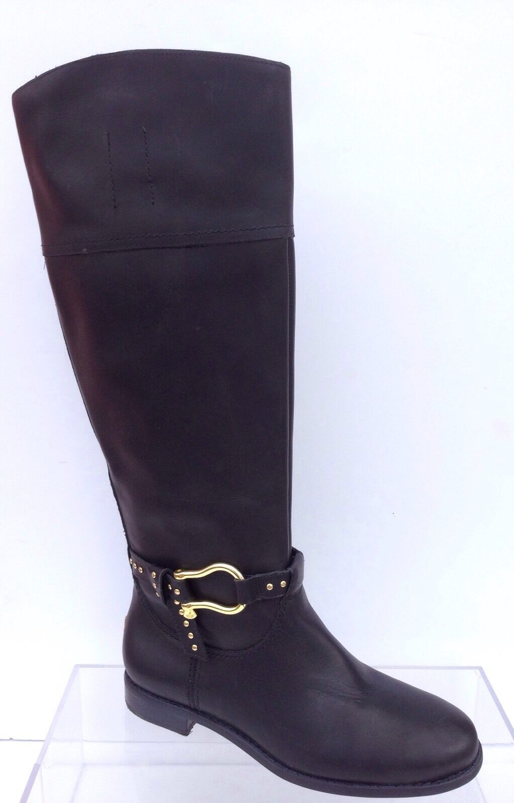 SPERRY Top sider SABLE waterproof riding BLACK Leder 6.5 M knee high boots
