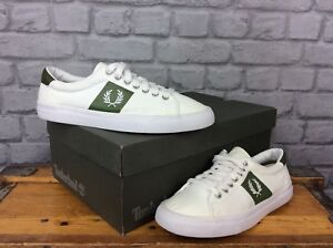 FRED-PERRY-MENS-UK-6-EU-39-WHITE-GREEN-TRAINERS-CANVAS-TRAINERS