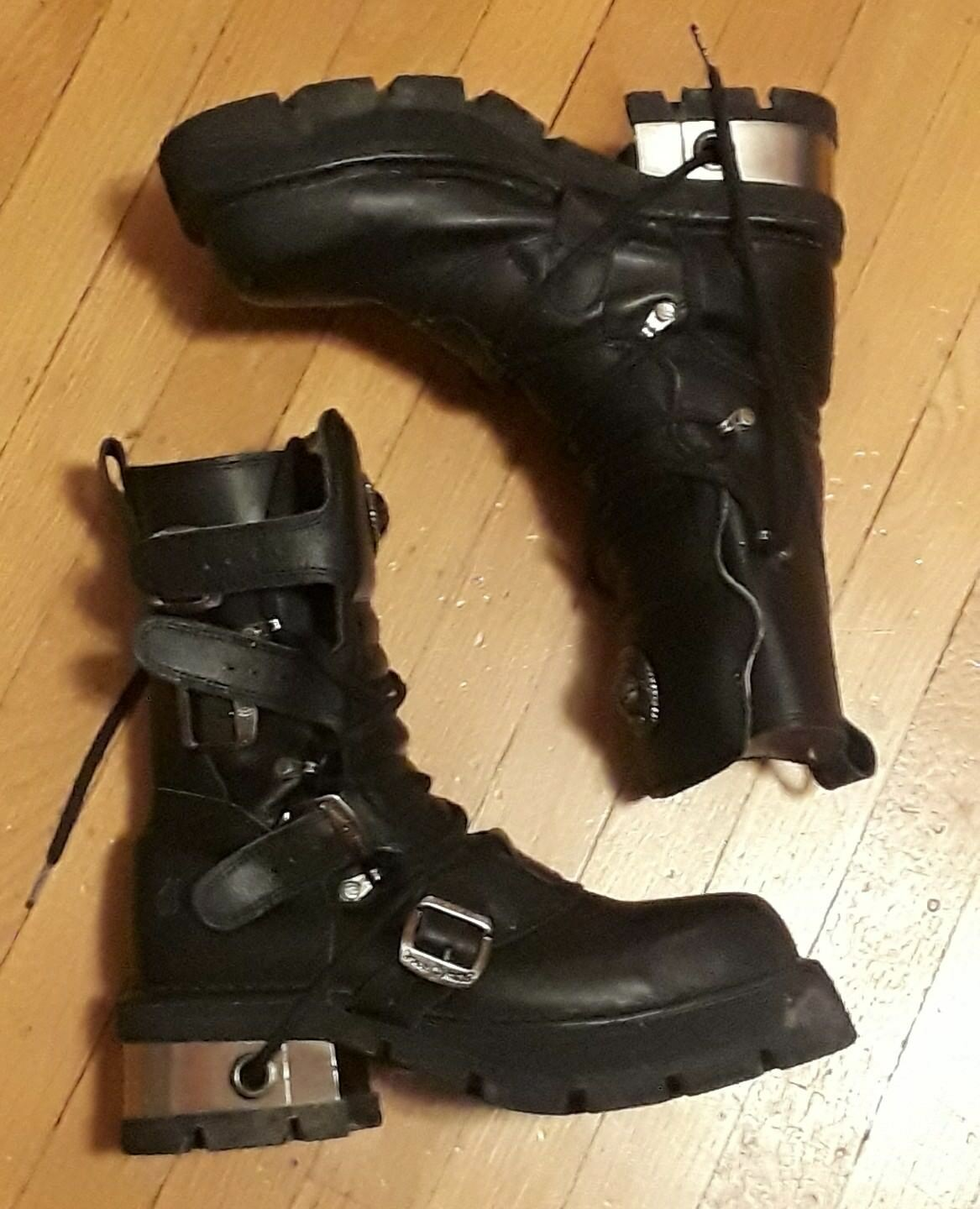 NEW ROCK REACTOR BLACK LEATHER CYBER GOTH STEAM-PUNK 4 BUCKLE PLATFORM BOOTS 42