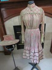 Antique Vtg Early 1900s Young Womans 2pc Dress & Hat PINK PRINT Ruffles LACE