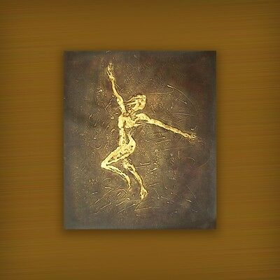 HUGE ABSTRACT PAINTING MODERN DECOR HAND PAINTED ART GOLDEN DANCER (NOT FRAMED)