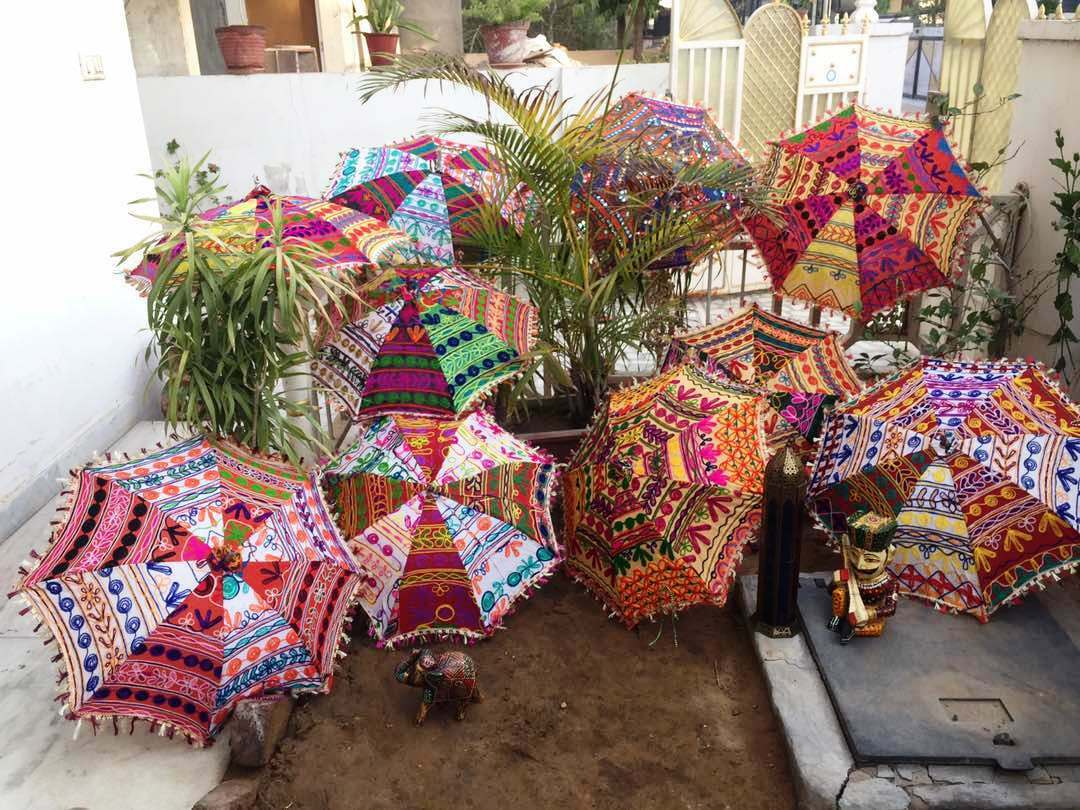 Wholesale Lot 5 PC Indian Embroidered-Work Parasol Sun-Shade Small Umbrellas 24