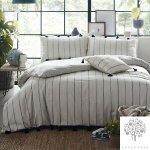 Appletree-DELTA-STRIPE-Duvet-Cover-Bedding-Set-Grey-Striped-Tassel-100-Cotton