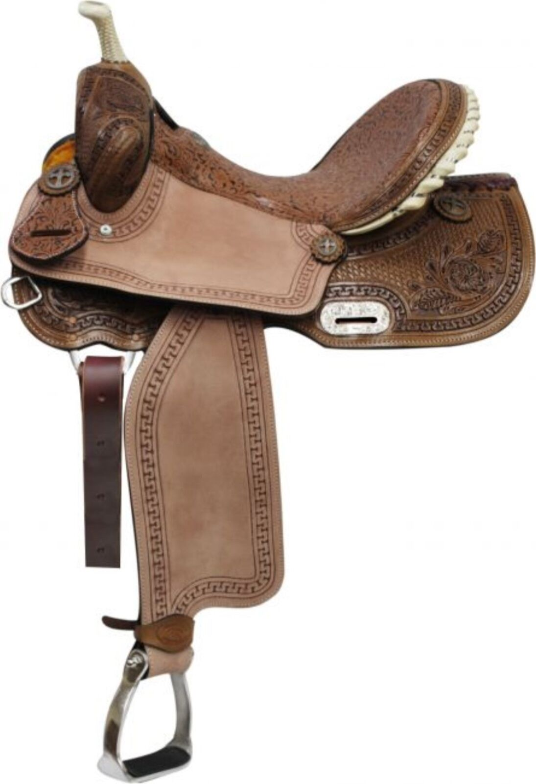 15  Double T BARREL Style Saddle With Brown Filigree Seat & Floral Tooling