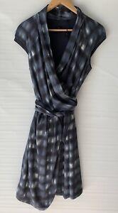 DAVID-LAWRENCE-amazing-Muted-Print-Wrap-Shirt-Dress-Size-8