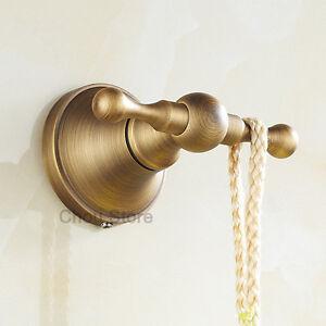Bathroom Antique Brass Double Hook Wall Mounted Towel Rack Robe Hooks Hanger New Ebay